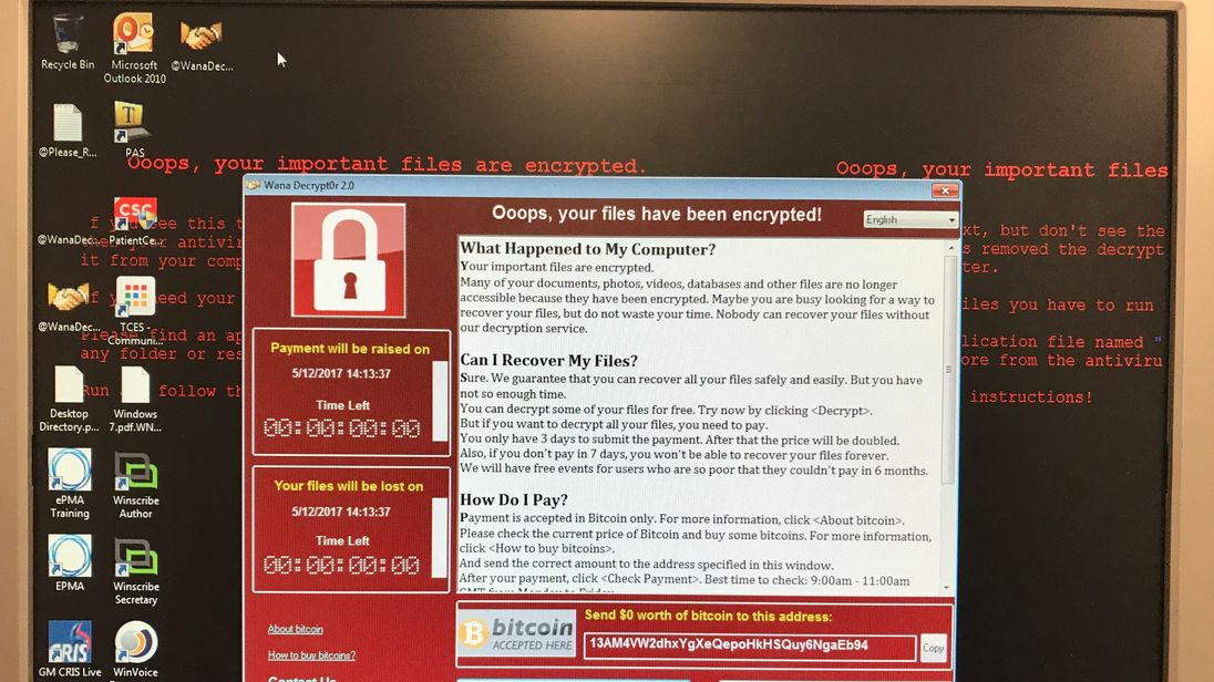 The ransomeware message affecting NHS IT systems