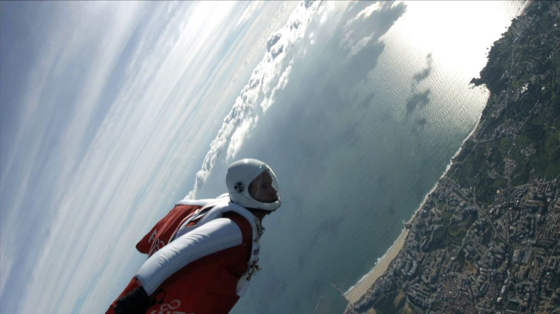 Is it a bird? Is it a plane? No... it's a wing-suited skydiver