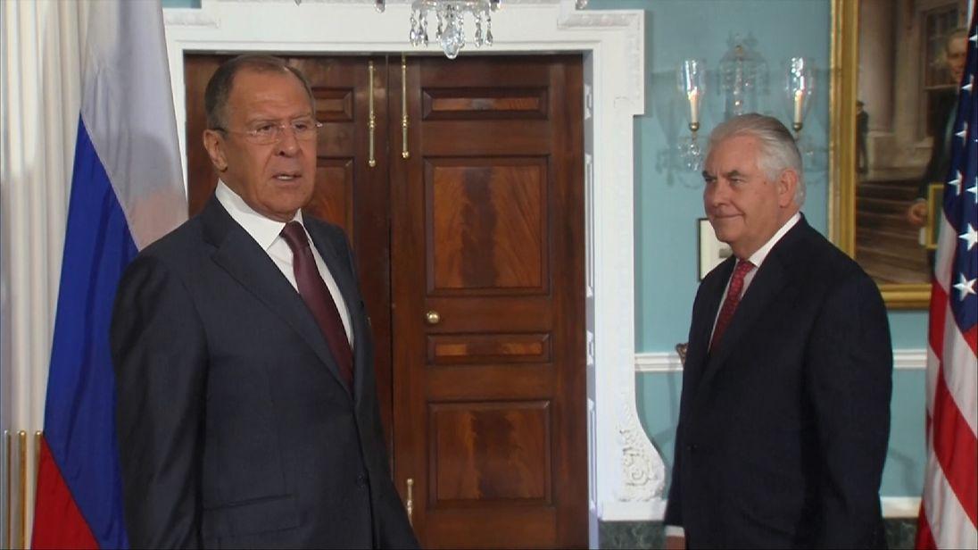 Sergei Lavrov (L) and Rex Tillerson