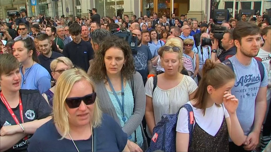 Some of the crowd sang Don't Look Back In Anger after observing a minute's silence