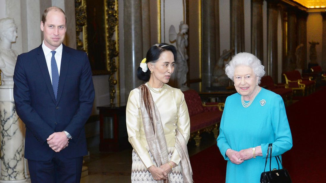 Prince William and the Queen with Aung San Suu Kyi