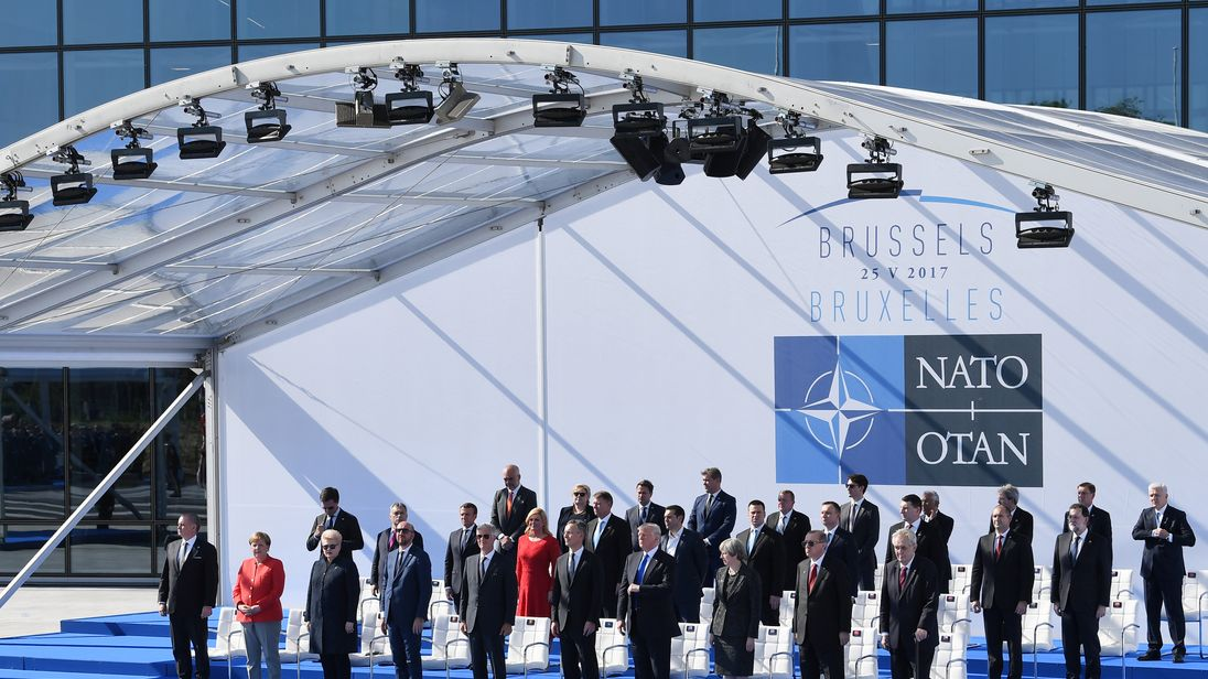 Leaders, including President Trump, gathered at NATO's new headquarters in Brussels