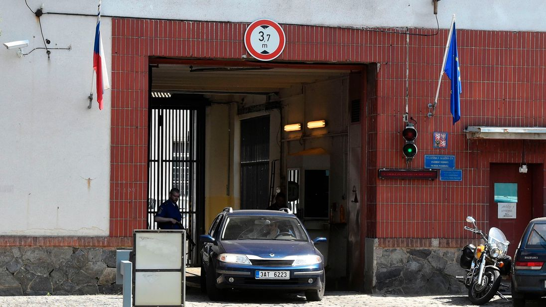 A car leaves the gate of the Pankrac prison where the extradition's hearing of the Russian hacker Yevgeny Nikulin took place