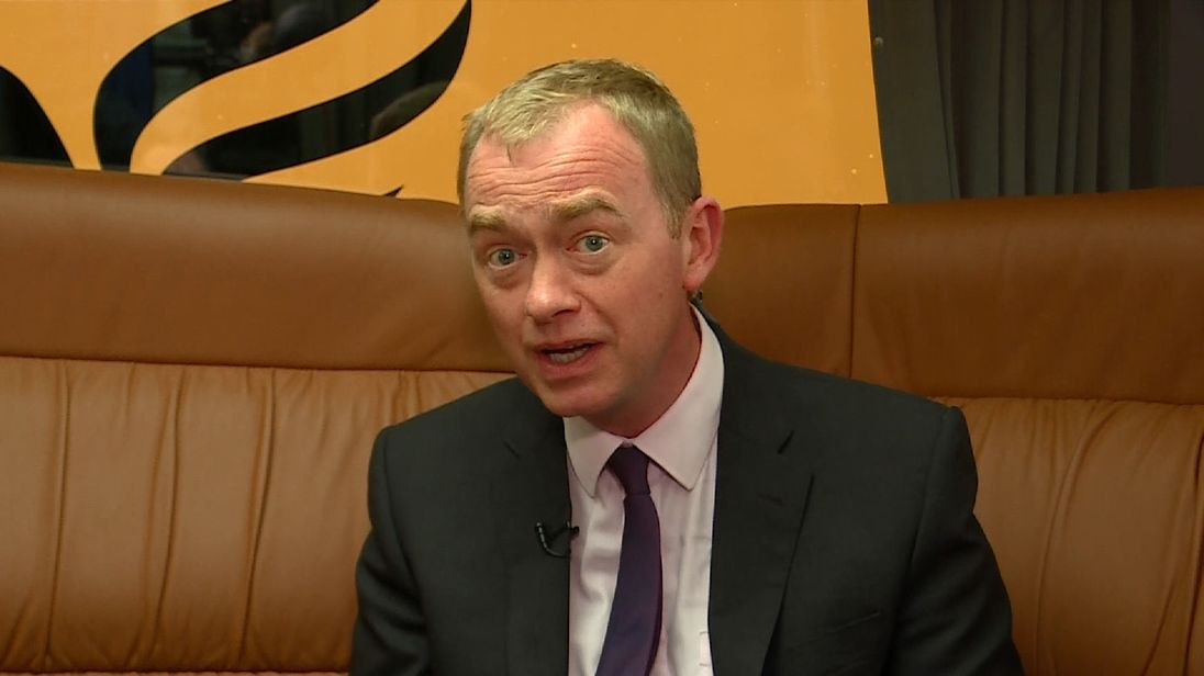 Tim Farron talking on LIB dEM BATTLE BUS.