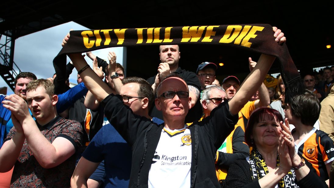 A Hull City fan is seen after his team relegated to the Championship after the Premier League match between Crystal Palace and Hull City at Selhurst Park on May 14, 2017 in London, England.