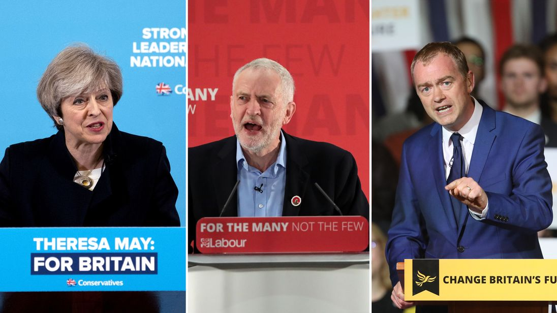 The Conservatives' Theresa May, Labour's Jeremy Corbyn and the Lib Dems' Tim Farron