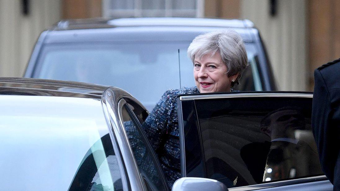 Theresa May leaves Buckingham Palace for Downing Street