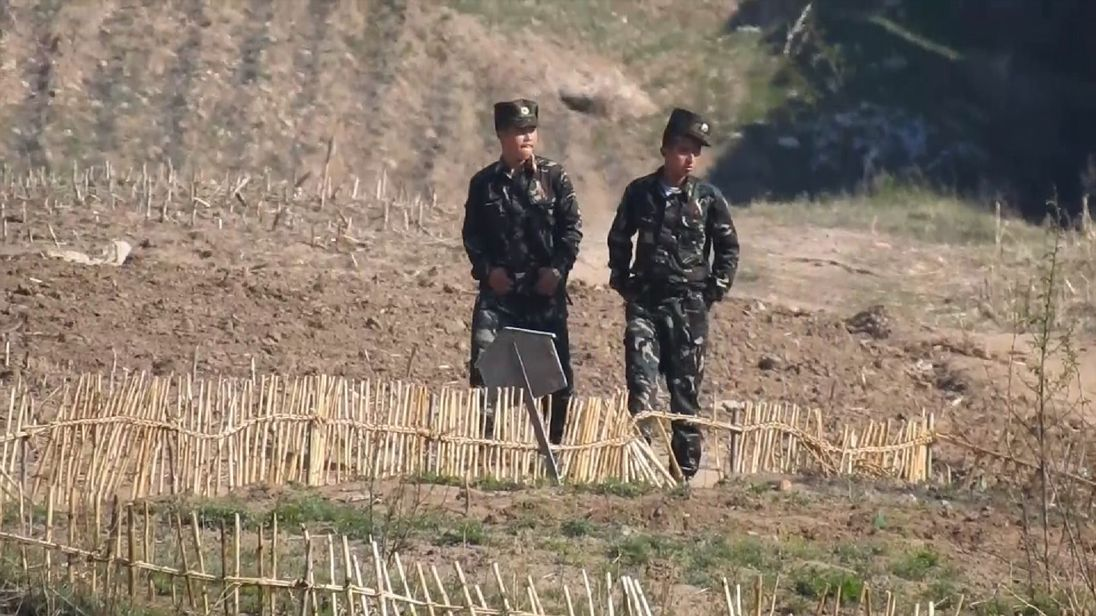 North Korean troops patrol the country's border with China
