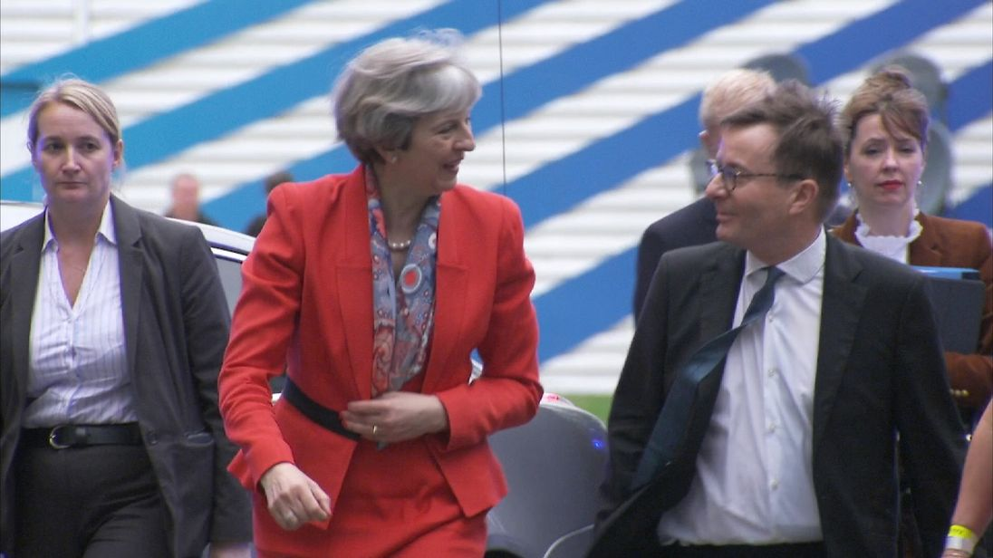 Theresa May arrives at Sky News for Battle For Number 10