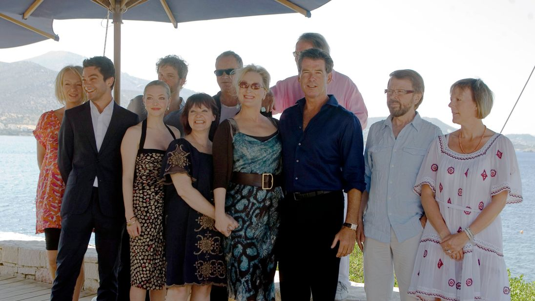 The cast of the original Mamma Mia pictured in Greece in 2008