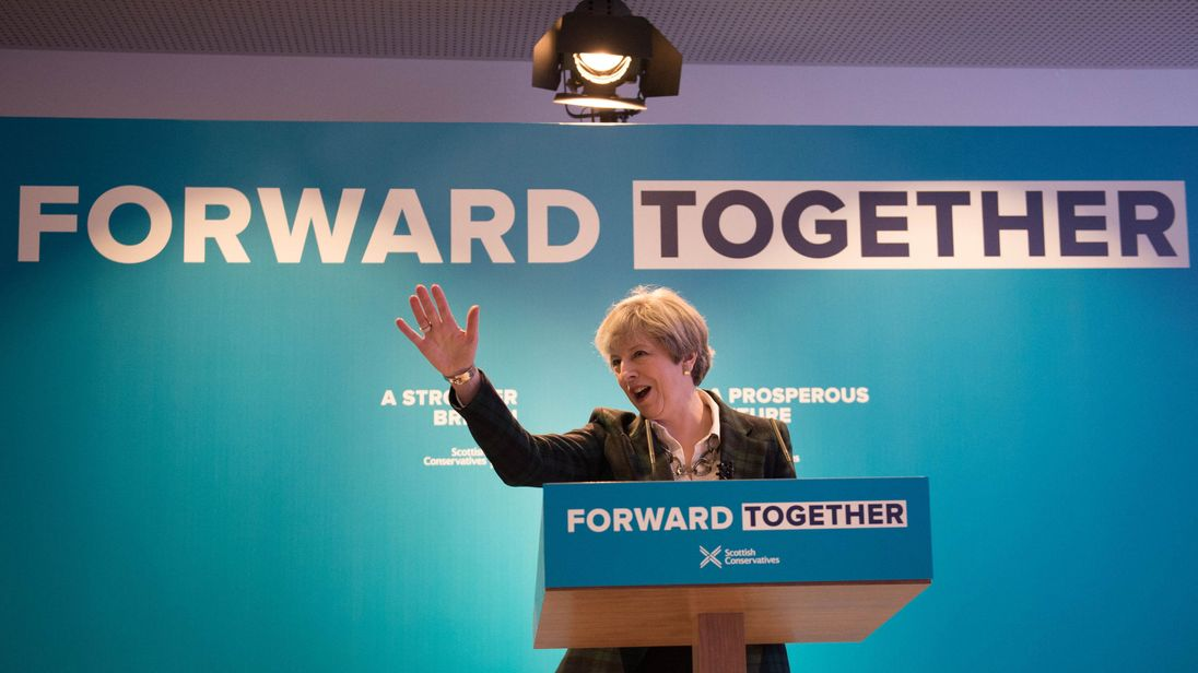 Theresa May during the Scottish Conservatives manifesto launch in Edinburgh