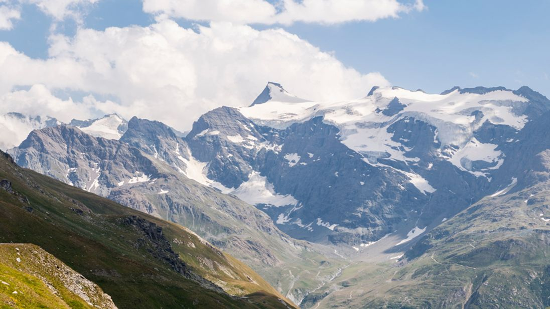 The Col du Greffier is the u-shaped dip to the left of the highest point - Albaron