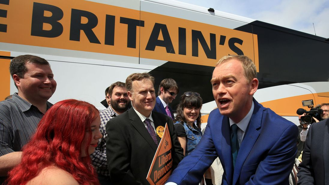 Liberal Democrats leader Tim Farron greets supporters during a campaign visit to Portsmouth