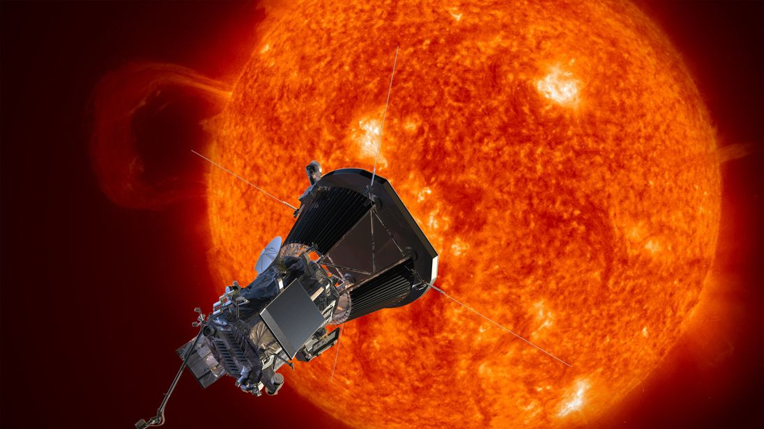 Artist's concept of the Solar Probe Plus spacecraft approaching the sun. Pic Johns Hopkins University Applied Physics Laboratory