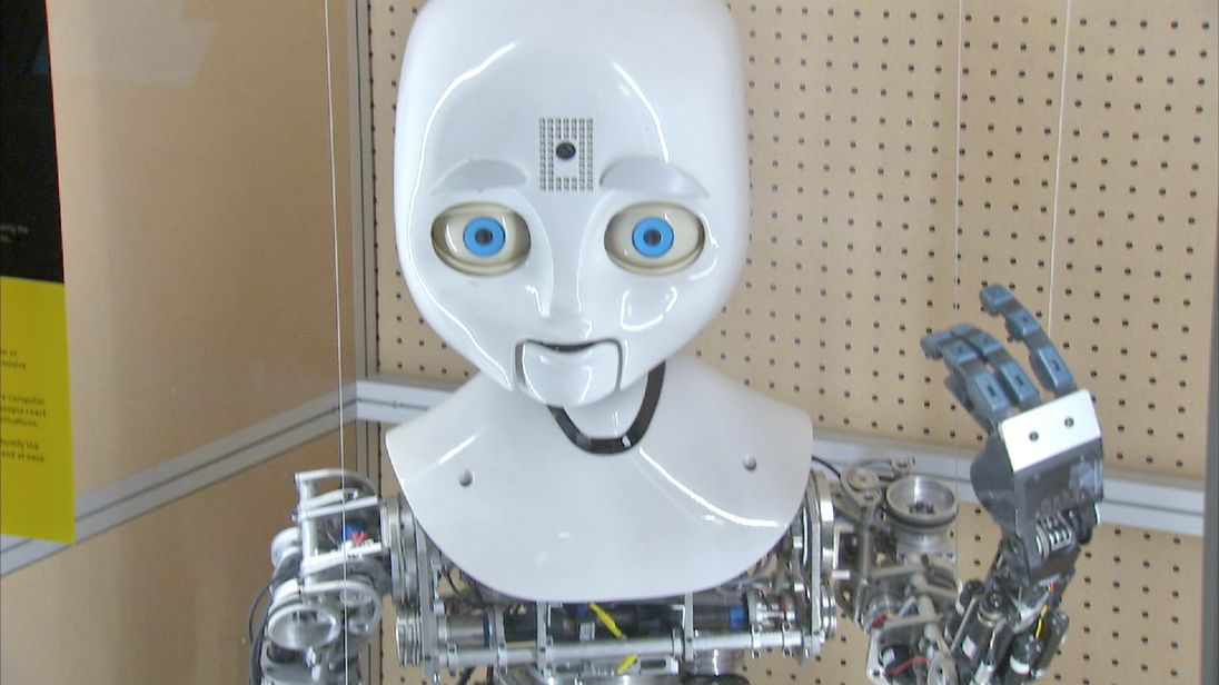 Robot on display in museum.