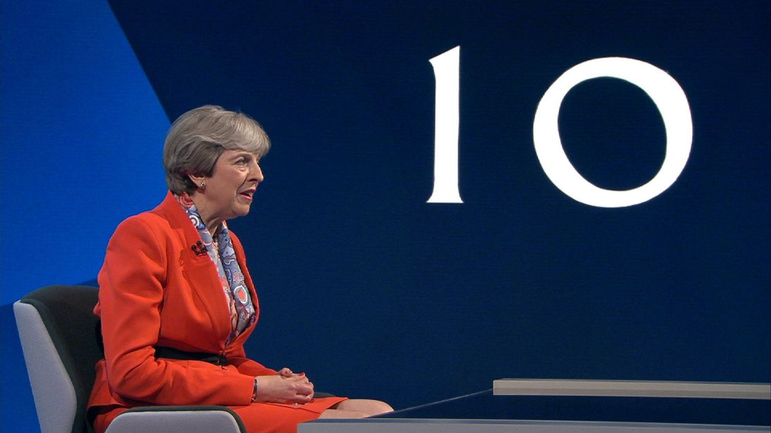 Theresa May fields questions on Brexit during The Battle For Number 10