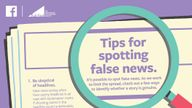 An advert showing Facebook's tips for spotting fake news