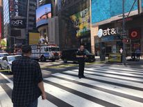 A stretch of Times Square has now been cordoned off. Pic: John Arabadjis
