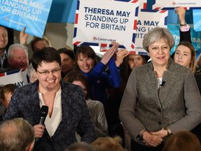 Scottish Conservative leader Ruth Davidson campaigning with Theresa May in Banchory last month