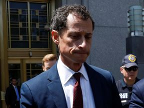 Former US congressman Anthony Weiner leaves court in New York after pleading guilty to sexting a minor