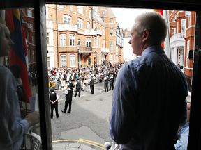Julian Assange in Ecuadorian embassy in August 2012
