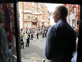 Julian Assange in Ecuadorian embassy in August 2012