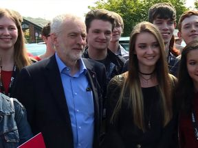 Jeremy Corbyn with first-time voters at a Leeds college