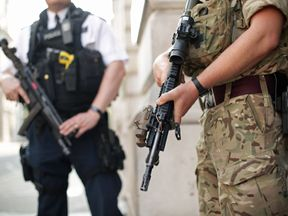 Armed soldiers have been deployed alongside police since Manchester's terror attack