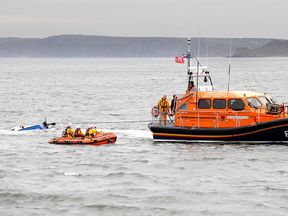 The RNLI towed Don't Panic back to the harbour