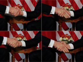 Trump (L) and Macron handshake
