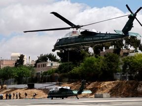 US helicopter Marine One nears a landing zone during a rehearsal for Mr Trump's visit to Israel