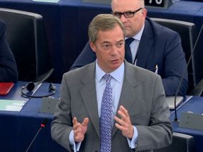 Nigel Farage speaking in the European Parliament