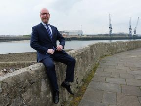 Paul Nuttall takes part in a media photo call during a visit to Hartlepool