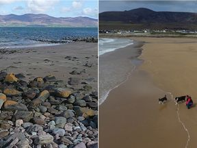 The beach at Dooagh after it was stripped of sand and, right, after spring tides brought it back