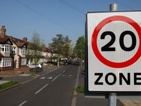 General view of a 20mph speed limit sign in Morden, south west London