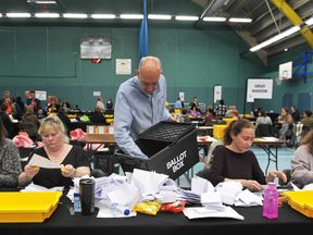 Election count staff count ballot papers in Chelmsford, Essex