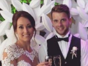 A picture of Kirsty and her husband Adam Maxwell at their wedding