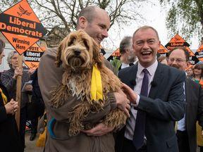 Tim Farron tells a voter to smell his Spaniel