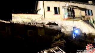 The train derailed and hit a house