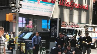 A person is treated at the scene in New York