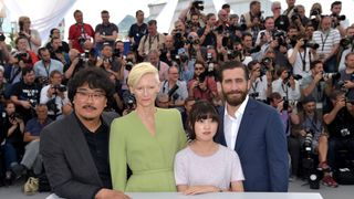 "Director Bong Joon-Ho, Actors Tilda Swinton, Ahn Seo-Hyun and Jake Gyllenhaal  attend the ""Okja"" photocall"