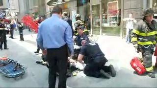 A person is treated at the scene of the incident