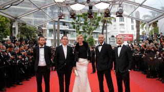 Jury members Joachim Lafosse, Reda Kateb, actress Uma Thurman, and jury members Mohamed Diab and Karel Och