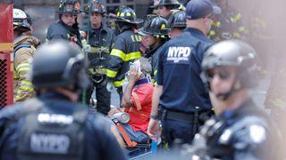 Injured man treated at the scene