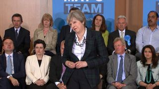 Theresa May responds to questions about Conservative Party election spending