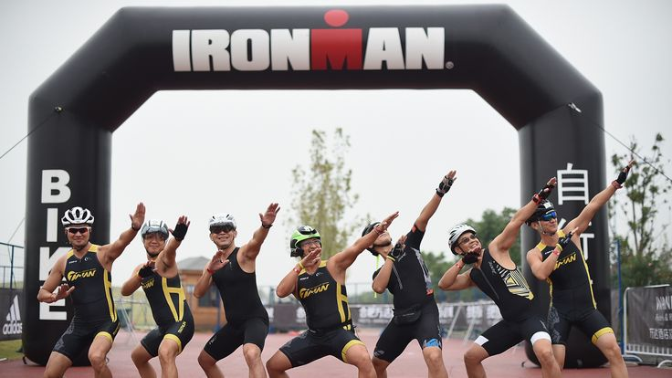 Competitors from Taiwan pose during Ironman 70.3 in Hefei, China