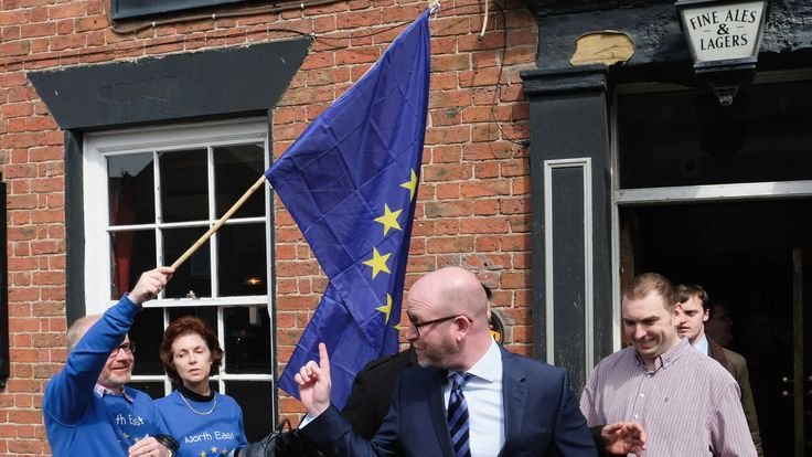 UK Independence Party leader Paul Nuttall leaves a pub in Hartlepool