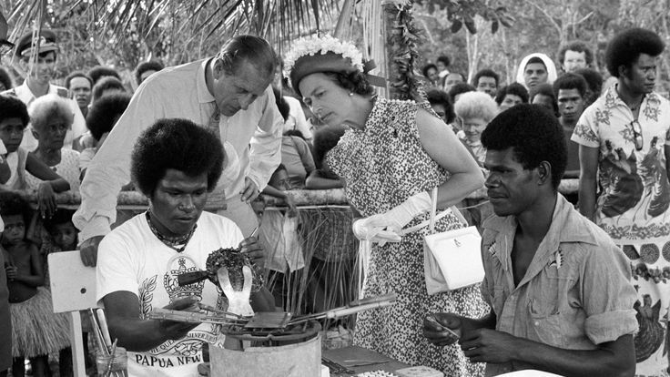The Queen and Prince Philip in Papua New Guinea in 1977