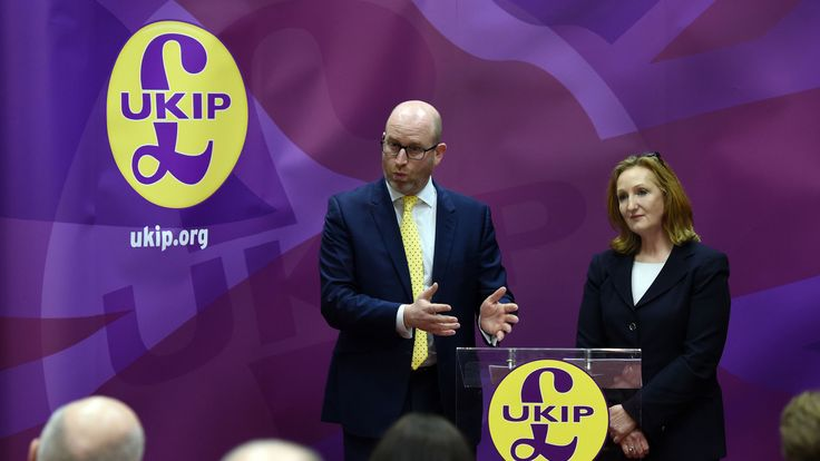 UKIP leader Paul Nuttall and deputy chairwoman Suzanne Evans