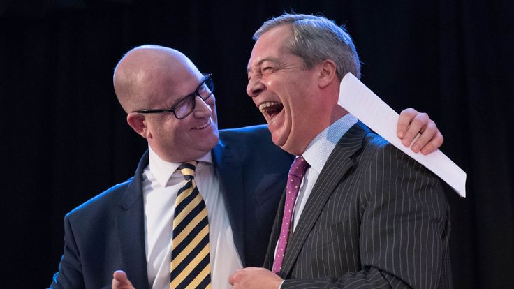 Paul Nuttall is congratulated by Nigel Farage after becoming UKIP's new leader